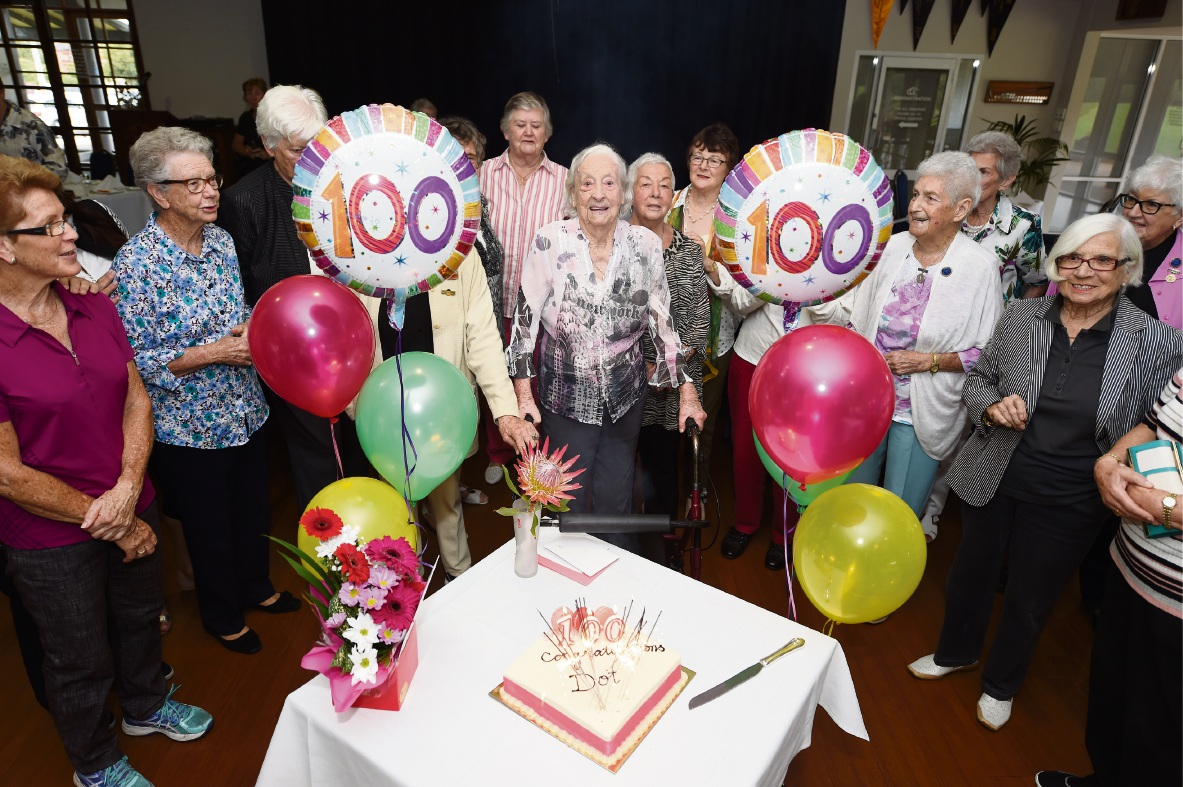 Dorothy Elliot celebrating her 100th birthday with friends at Gosnells Golf Club.