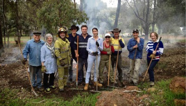 Peter Holland and Rosemary Greenham with Chidlow Volunteer Bushfire Brigade Captain Brett Davies and other participants at a winter burning workshop. Picture: Dan Connors