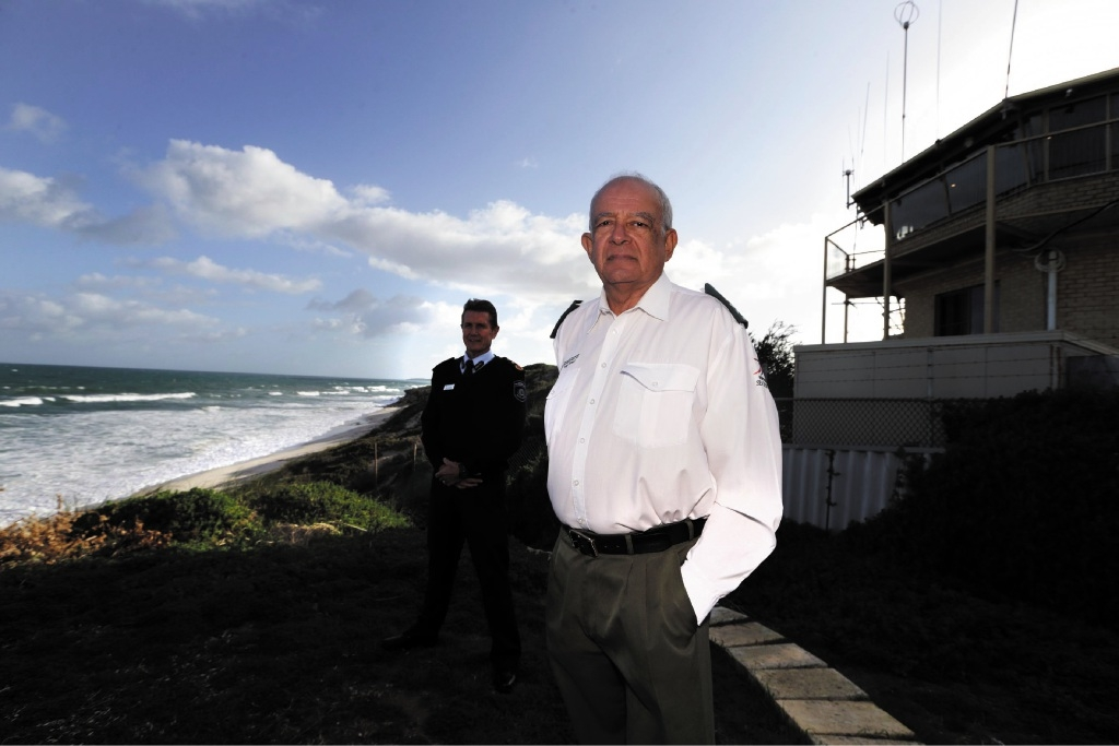 Gary Gifford (DFES-Assistant Commissioner Operations Capacity) and Roger Howell (President Metro Sea Rescue).  Picture: Martin Kennealey         d438757