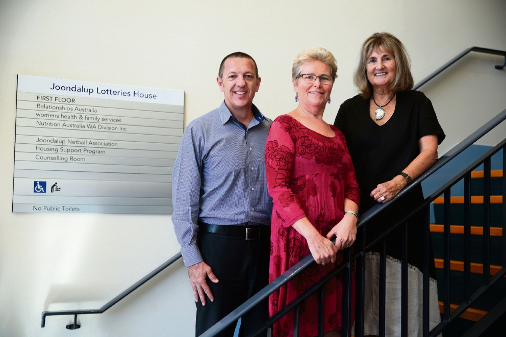 Joondalup Lotteries House tenants Youth Futures chief executive Mark Waite, Women's Health and Family Services branch manager Mandy Stringer and Relationships Australia branch manager Fran Edmeades. Picture: Martin Kennealey d465758