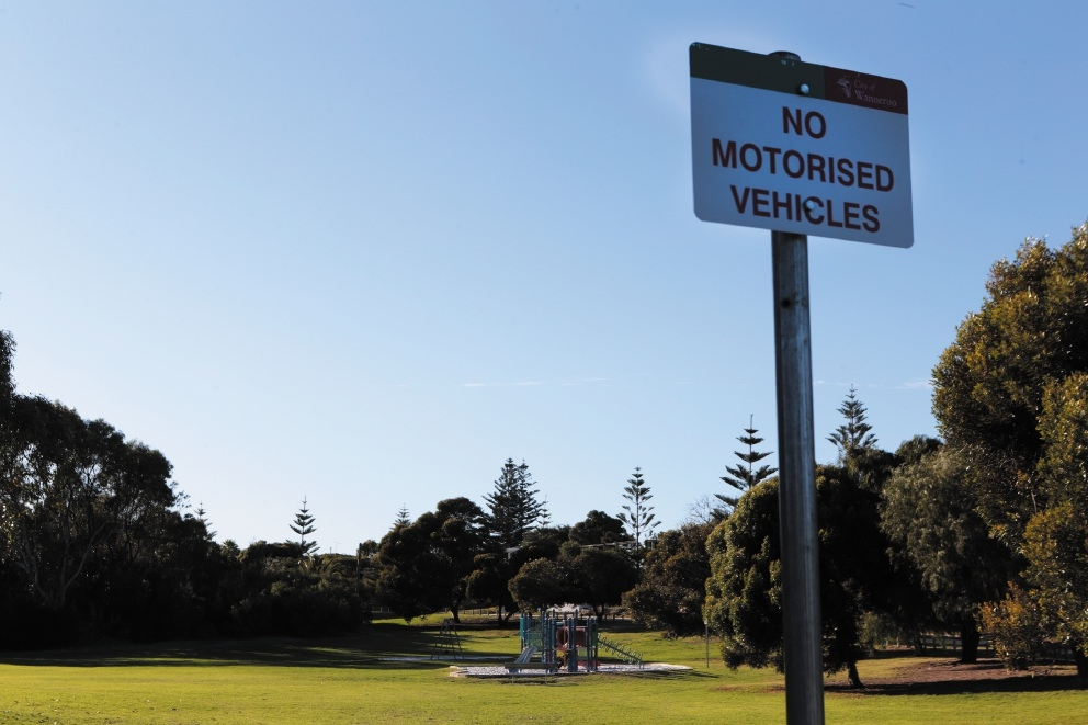 Park signs to deter bikers at Two Rocks