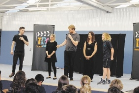 The Theatrical Response Group with Yanchep Distric High School student Tyler James.