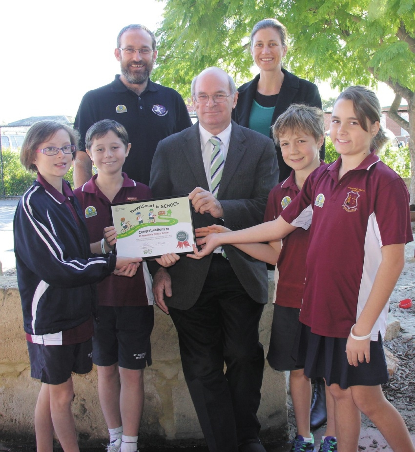 St Augustine's TravelSmart team Veroonika Dannock, Riley Stevenson, Aidan Lawrence and Bristol Sant with City of Belmont TravelSmart officer Crawford Connell,  Mayor Phil Marks and |parent TravelSmart co-ordinator Jacinta Thompson.