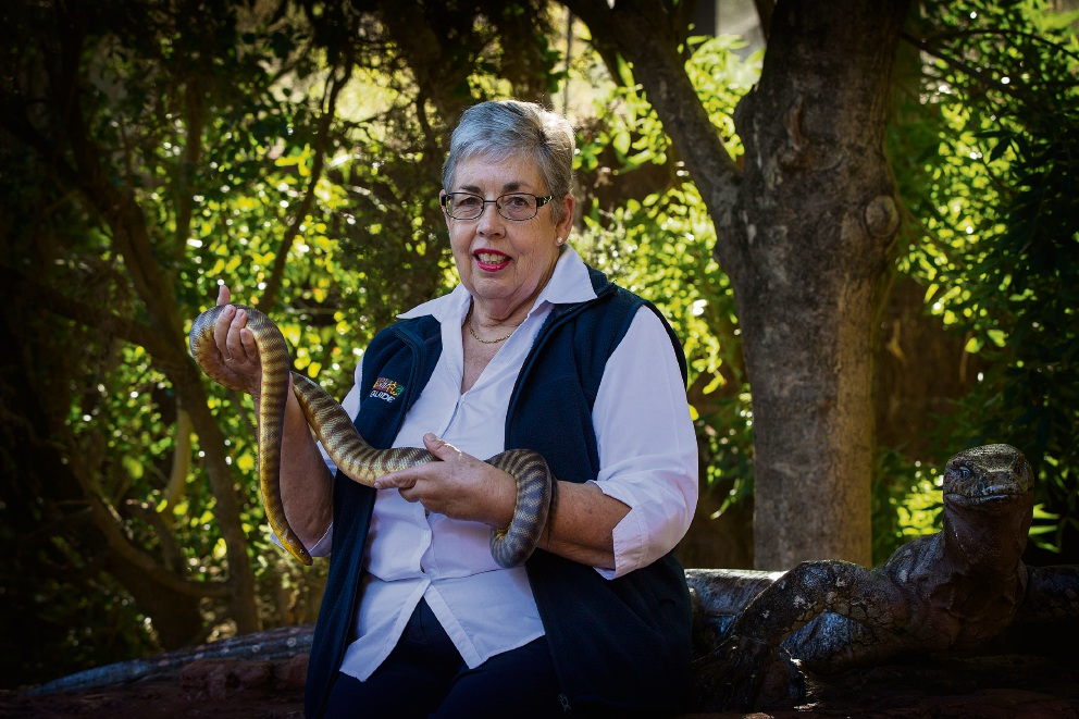 Di Mitchell loves her role as a volunteer - and snake handler - at Perth Zoo. Picture: Will Russell www.communitypix.com.au   d466860