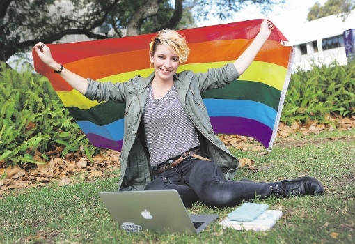 Curtin University Guild 2015 queer officer Sarah Franz. Picture: Matt Jelonek        www.communitypix.com.au   d439213