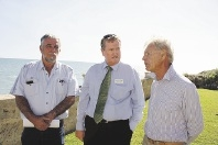 Moore MLA Shane Love (centre) with Seabird residents Garry Thomas and Jim Batalin.