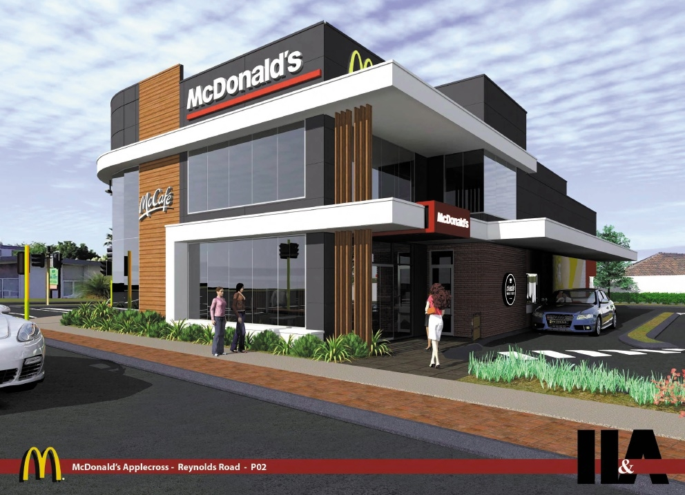 An artist's impression of the proposed two-storey McDonald's.