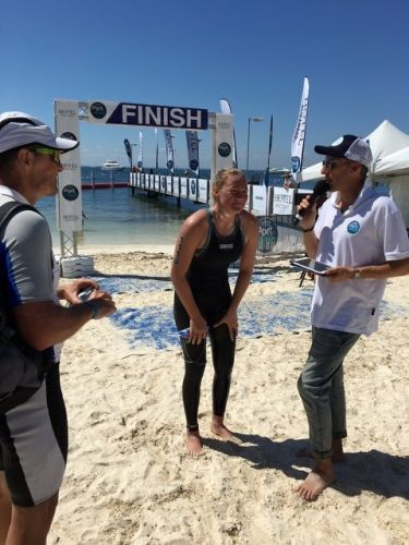 Alyssa George (16) was the first female solo swimmer across the line at the Port to Pub Rottnest Channel Swim.