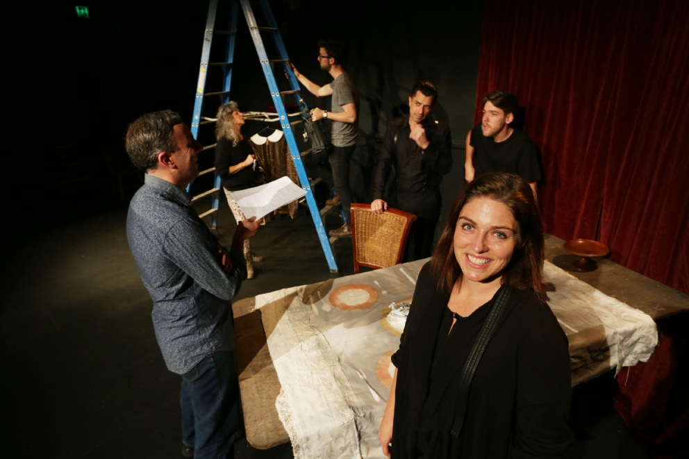 Talei Howell-Price (front) with (left to right) writer/director Damon Lockwood, costume and set designer Cherie Hewson, stage manager Michael Maclean and actors Brendan Hanson and Nick Pages-Oliver. Picture: Andrew Ritchie d439072