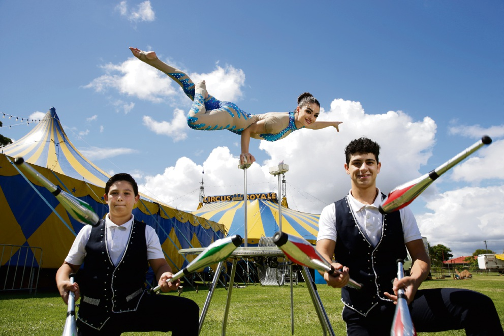 Circus Royale performers Jonathan, Susana and Francisco Reyes. Picture: Andrew Ritchie