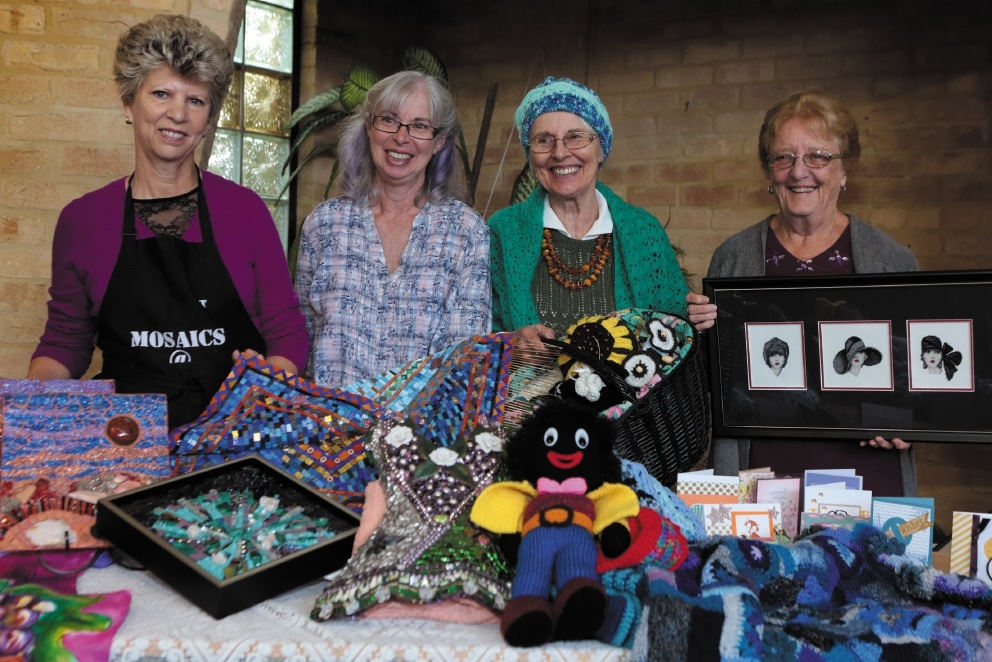 Pat Manger, Jill Groom,Danuta Callaghan and Gail Stokes with some of their creations. Picture: Martin Kennealey www.communitypix.com.au d439168