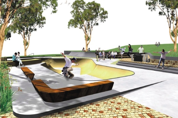 Artist's impression of the skate park.