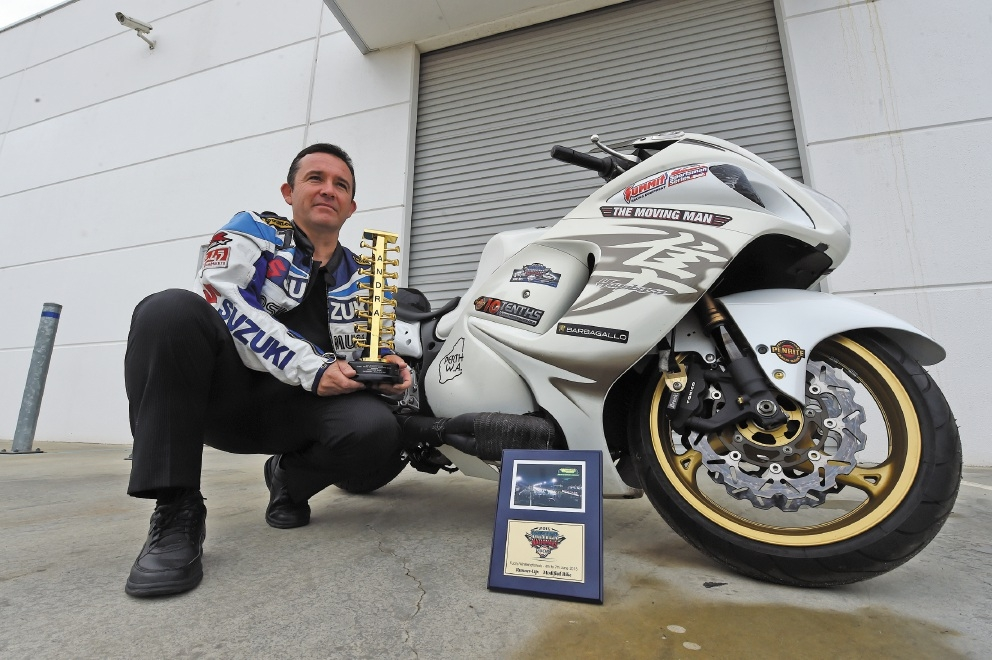 Ian Read with his Modified Bike Champion trophy. Picture: Jon Hewson d439413