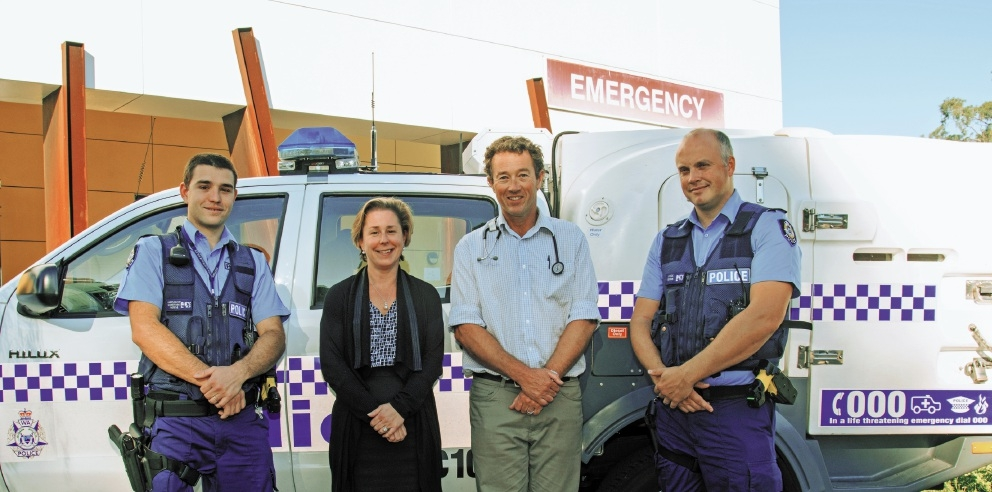 South Metro Constable Luke Barron-Sullivan, Rockingham General Hospital clinical nurse manager Kelly Jessop, emergency consultant Stephen Grainger and Senior Constable Andrew Page.