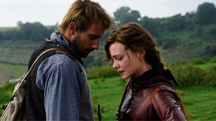 Matthias Schoenaerts as Gabriel Oak and Carey Mulligan as Bathsheba Everdene in Far From the Madding Crowd.