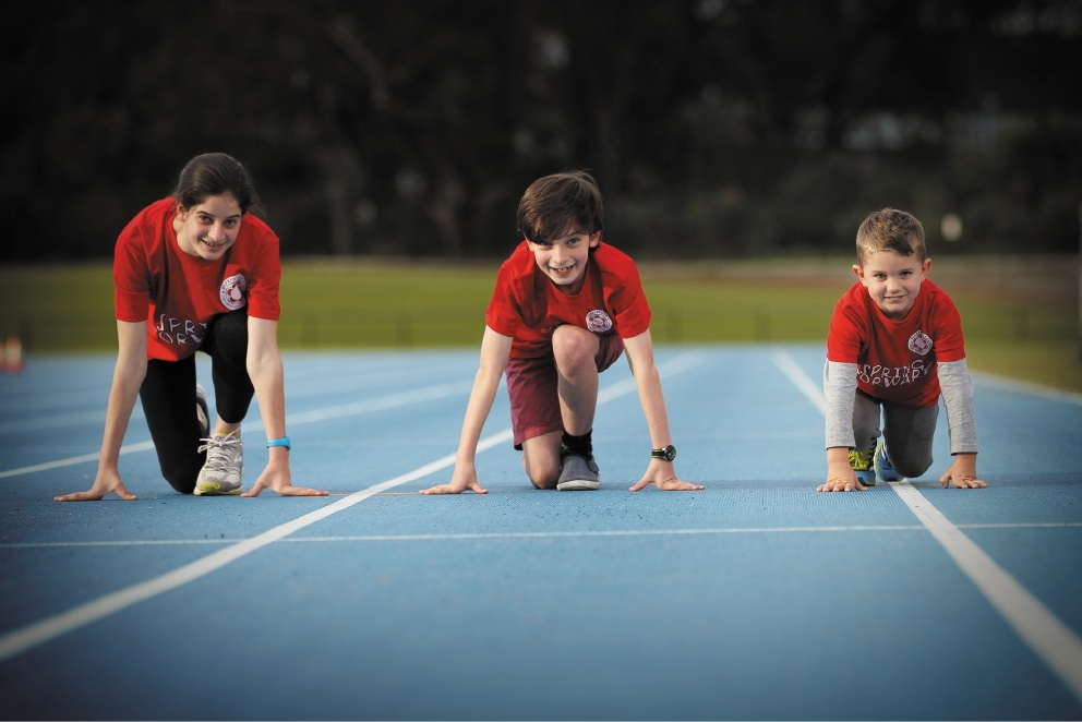 Jordana Mathews (14), Austin Matthews (11) and Hudson Absalom-Hornby (4) prepare for the Spring Forward Kids Fun Run.Picture: Andrew Ritchie        www.communitypix.com.au   d441474