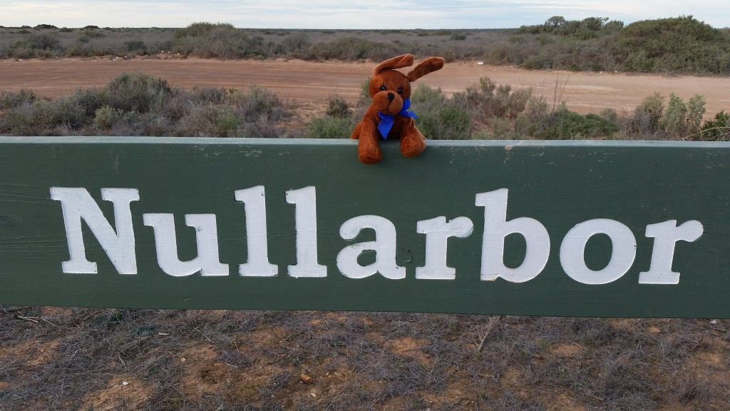 Hope the MND mascot braves the wind to spread awareness of MND during his trip to the Nullarbor.