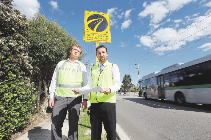 Damir Vagaja and Paul Giamov from the City of Stirling at the improved intersection at |Harborne Street and Parkland Road. Picture: Andrew Ritchie          www.communitypix.com.au   d442504