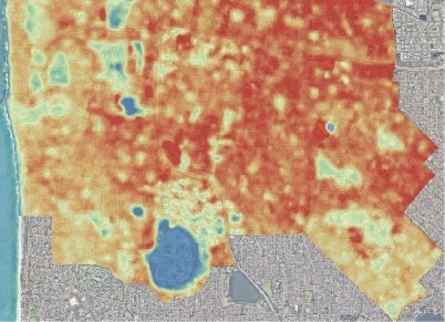 Satellite thermal land temperature analysis of City of Stirling with red hottest, blue coolest.