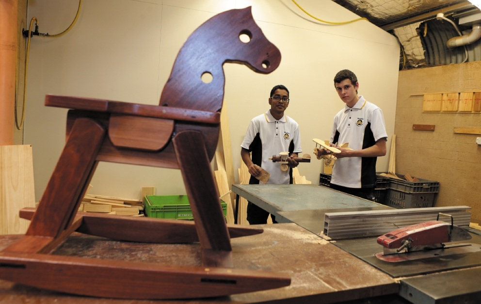 Year 11 woodwork students Vinay Varsani and Flynn Griffths.Picture: Martin Kennealey www.communitypix.com.au   d442740