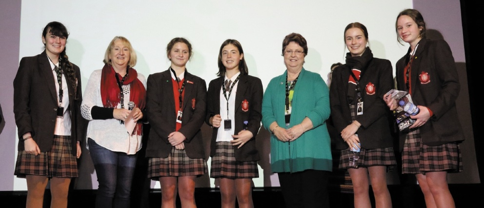 Sacred Heart College students Olivia Bordi, Caitlin Butler, Hannah Wilcock, Jade Bondonno, Rachel Hockton with Spatial Industries Business Association WA chairperson Julia Sparks and Surveying and Spatial Sciences Institute regional chair Kerry Smyth.