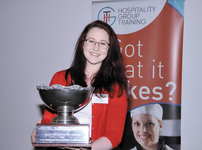 Two Rocks' Alexis Watson with her outstanding apprentice chef trophy.