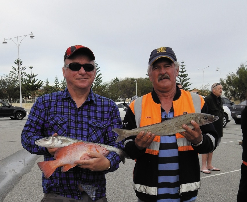 Pete Coleman with a King George whiting and breaksea cod and Carl Piel with his 1.13kg King George whiting.