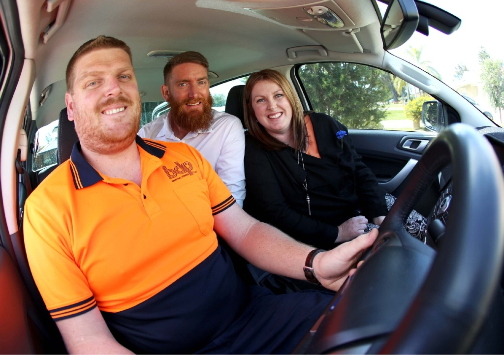 Siblings Brad Poultney, Jeff Poultney and Jodie Hulm are taking part in the 2015 Daniher's Drive for MND in memory of their father, Neil, who died last year.  Picture: Matt Jelonek   d442711