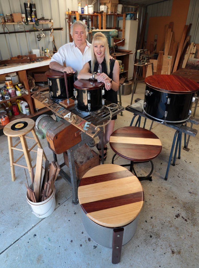 Louis Branford and his daughter Louie Owen with some of their creations. Picture: Martin Kennealey d444488