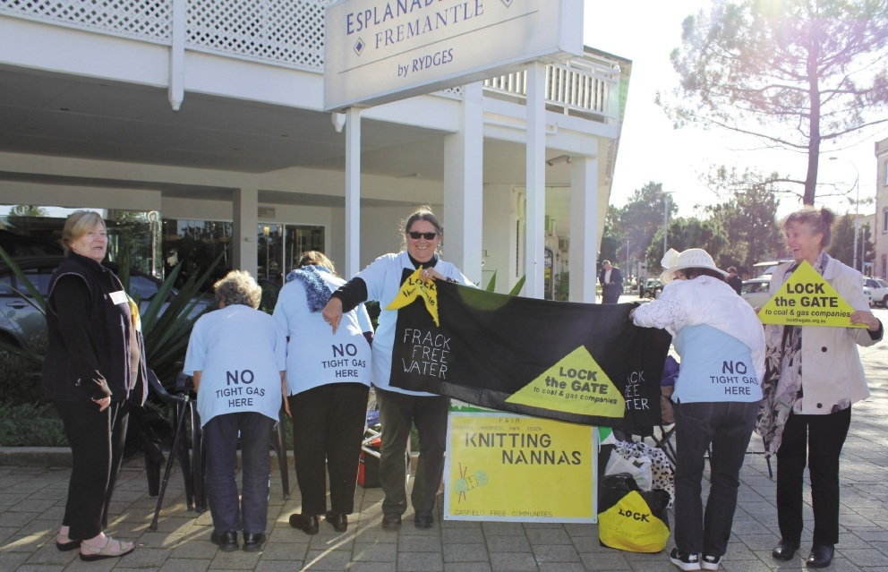 Protesters outside the Esplanade Hotel, which was the venue for the RIU Good Oil Conference.