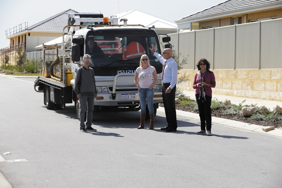 Local residents Ray Leicester, Trudi Turner, Butler MLA John Quigley and Cheryl Leicester. Picture: Martin Kennealey        www.communitypix.com.au   d442681