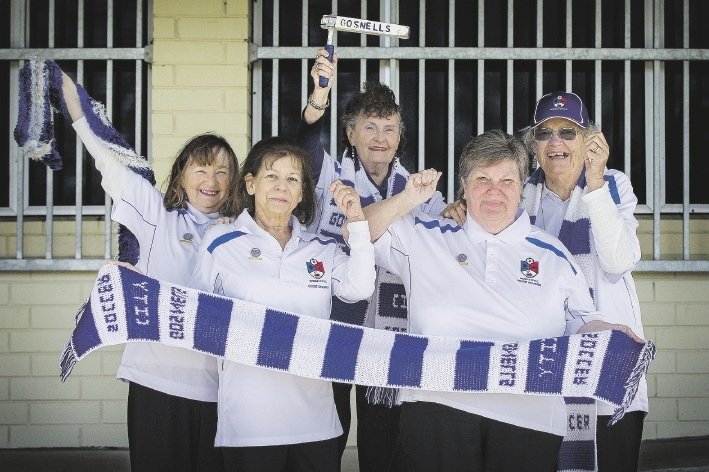Go Grannies: Come rain or shine, Ann Devereaux, Jenny Winrow, Ann Farrar, Mary Selby and Shirley Buckley are out barracking for Gosnells.Picture: Will Russell         www.communitypix.com.au   d442985