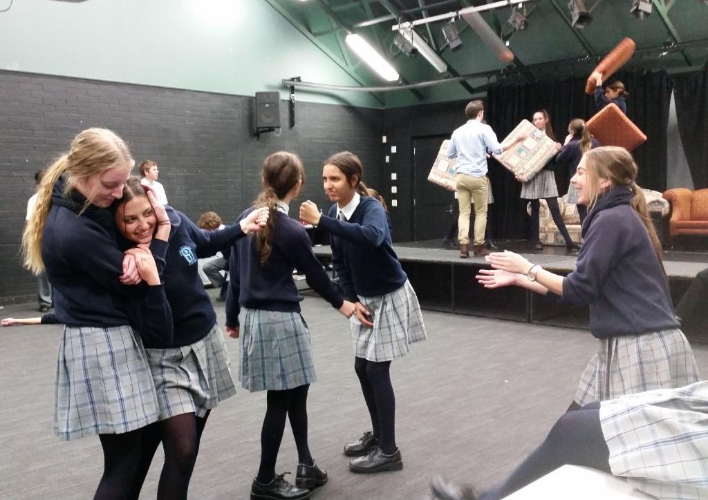 Erin Robinson, Claudia Siciliano, Shanae Castagna, Laura Ferron and Nicole Faro rehearsing.