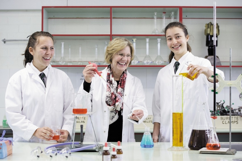 Prof Lyn Beazley (2015 WA Australian of the Year) with Year 11 students Sasha Furtado and Lauren Fassetta. Picture: Sandy Herd