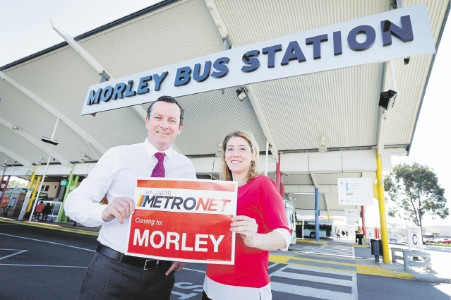 State Opposition Leader Mark McGowan and Opposition transport spokeswoman Rita Saffioti  at Morley Bus Station.  Picture: David Baylis www.communitypix.com.au   d443216