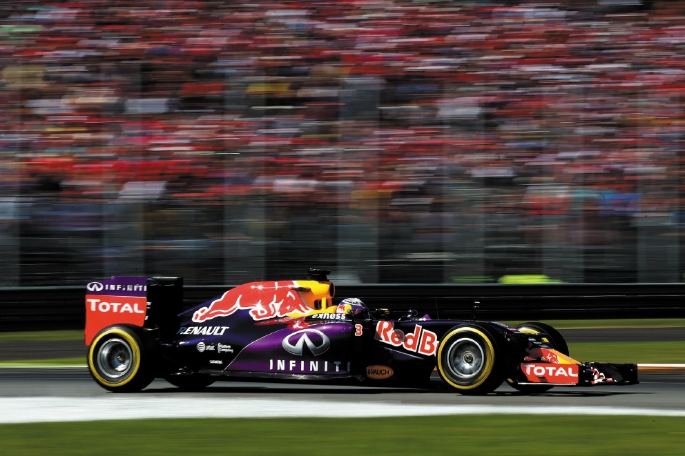 A flying Daniel Ricciardo on the track at Monza.