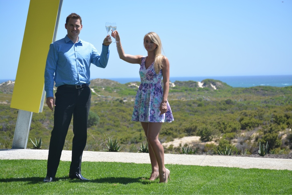 Allara sales general manager Simon Flesher with buyer Karliah Bryer, whose home is now under construction.