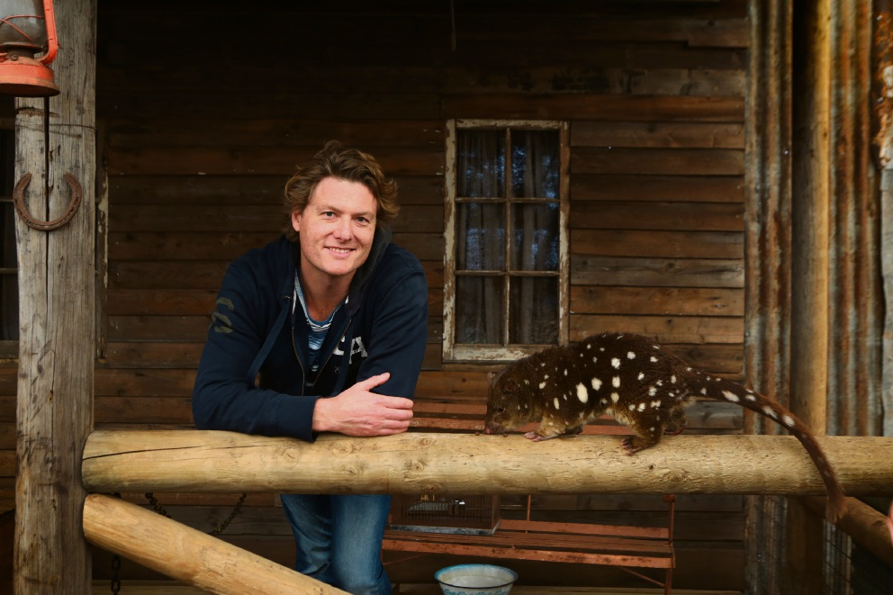 Actor Myles Pollard with a tiger quoll at Caversham Wildlife Park. Picture: Martin Kennealey d442593