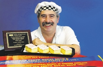 Ned Jahshan and his Perth Royal Show award-winning vanilla slice.       Picture: Martin Kennealey                      www.communitypix.com.au   d443454
