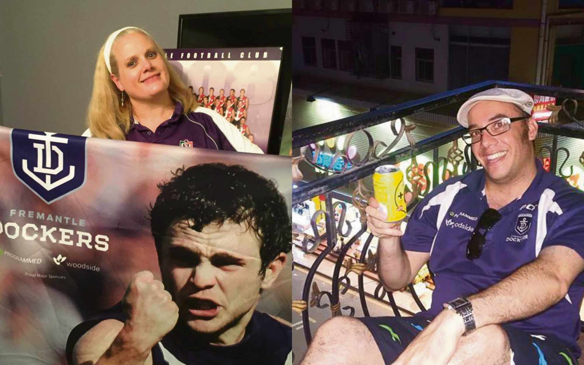 Dockers fans Kimberley Edwards and Jay Margo will be cheering on the Fremantle Dockers from the US and China.