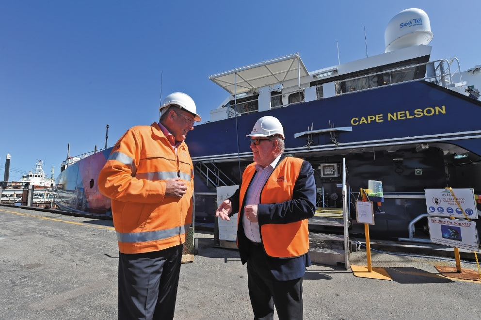 Anglicare CEO Ian Carter and Austal CEO Andrew Bellamy. Picture: Jon Hewson           d443297