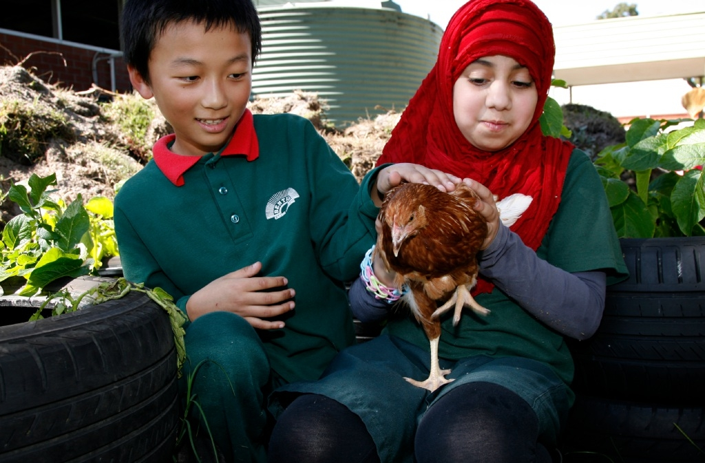 Ngawang Dorji (10, left) and Maryam Al Hammad (9) with one of the school's hens .