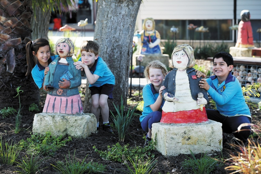 Lulu Brickland, Ken Asaka and Laetitia Jeannerat (Year 1s) have helped create scultpures to mark the Churchlands PS school's 50th anniversary. Picture: Andrew Ritchie         d443441