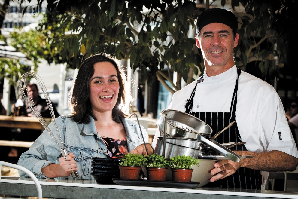 Tradewinds Hotel head chef Gary Martin with Spearwood resident Carly Blitz.Picture: Will Russell        www.communitypix.com.au   d443311