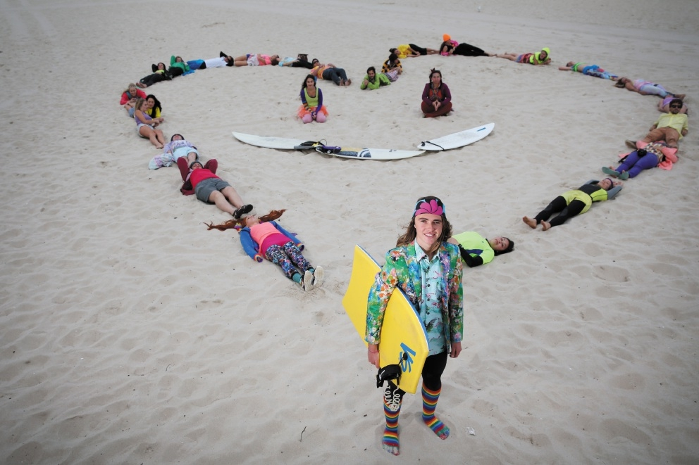 Surfers gather at Scarborough Beach for R U OK? Day