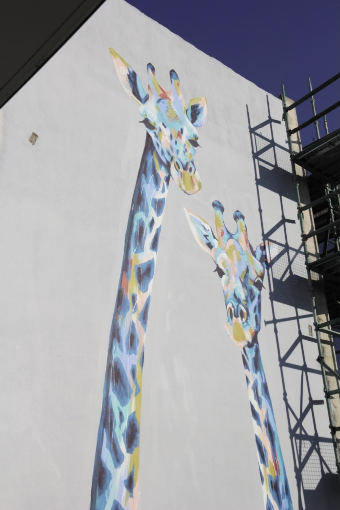 Tall order: The charming mural by artist Anya Brock on a wall in Maylands.
