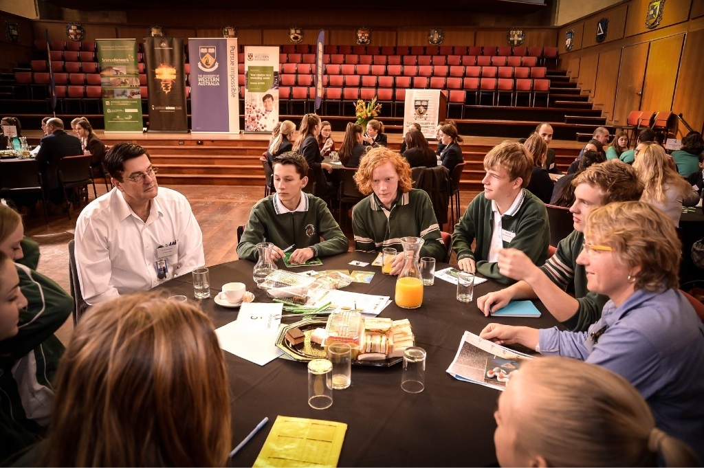 Dr Sharon Eyer shares her love of chemistry with Lesmurdie Senior High School students, along with Ronald Cupich from Chevron.