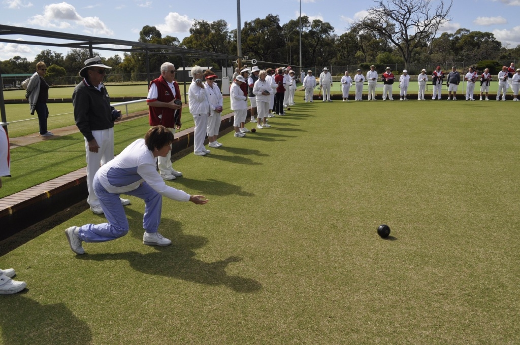 Kingsley MLA Andrea Mitchell delivers the first bowl at the Warwick Bowling Club.