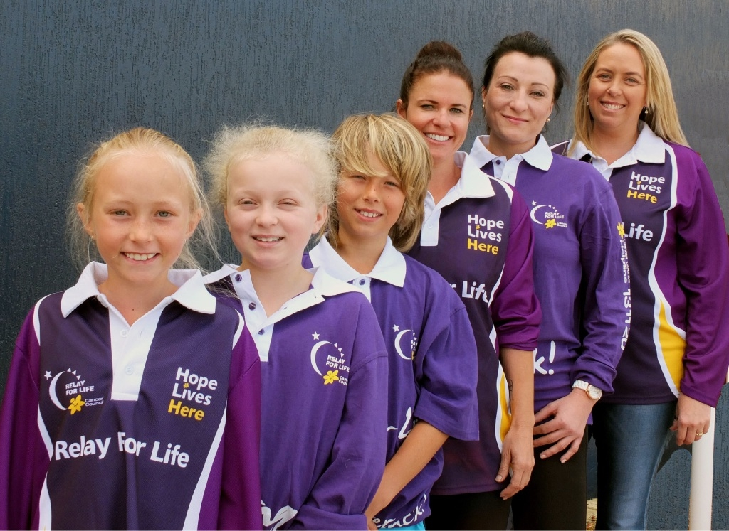 Bella Smith, Charlize Wood, Riley Smith, Tash Taylor, Tanya McColgan and Donna Smith continue their fundraising efforts in Relay for Life.