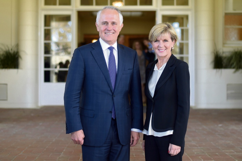 New Prime Minister Malcolm Turnbull, along with Deputy Prime Minister Julie Bishop, after this morning's swearing in. Picture: Lukas Coch - Pool/Getty Images.
